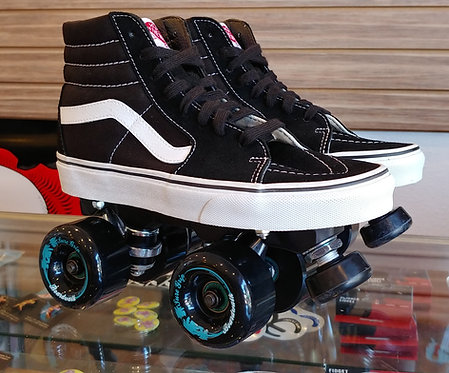 Custom Vans Roller Skates - Classic Black w/ Outdoor Boardwalk Wheels