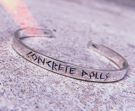 Concrete Dolls Hand Engraved Sterling Silver Bangle/ Cuff Bracelet