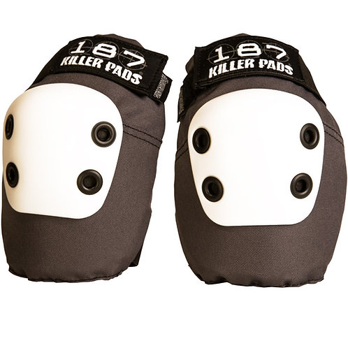 187 Killer Pads Slim Elbow Grey with White Caps