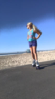 outdoor beach path roller skating girl