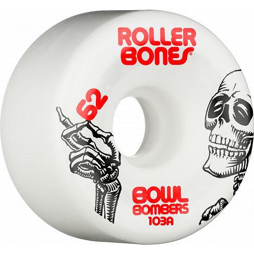 Rollerbones Bowl Bombers Wheels 62mm 103A 8pk White