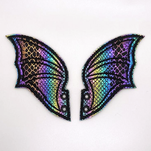 Christy Stitches Lace up Dragon Wings - Metallic Rainbow