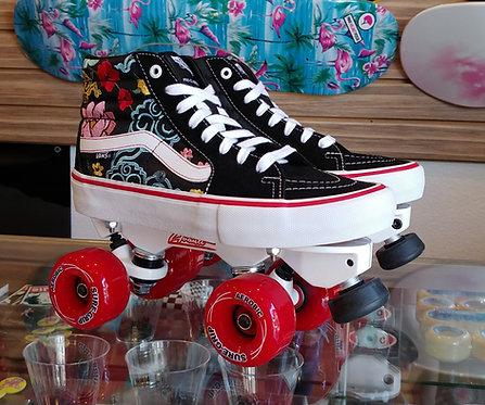 Custom Vans Avanti Magnesium Roller Skates -Lizzie Floral Black & White