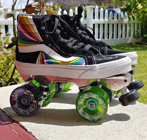 Custom Vans Roller Skates - Retro Swirl