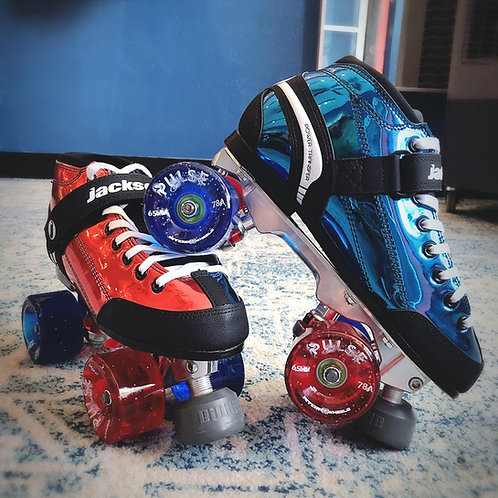 ATOM/ JACKSON SUPREME VIPER RED/ BLUE METALLIC OUTDOOR QUAD SKATE PACKAGE