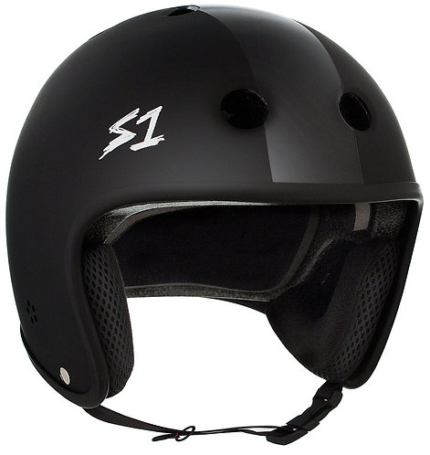 NEW S1 Retro Lifer Helmet - BLACK MATTE W/ BLACK STRIPES