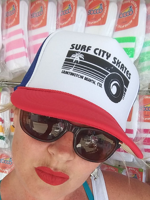 Surf City Skates Mesh Trucker R/W/B- Classic Sunset Logo