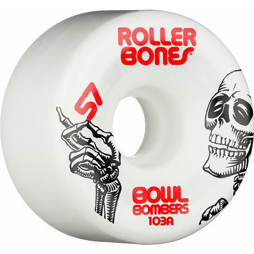 Rollerbones Bowl Bombers Wheels 57mm 103A 8pk White