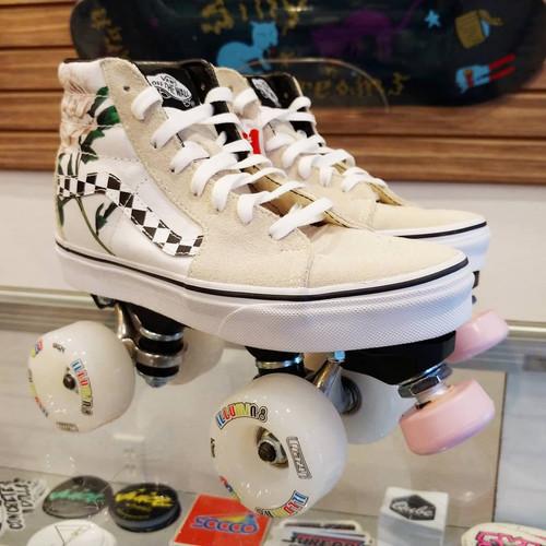 Checkered Floral Vans Sk8 Hi Custom Roller Skates