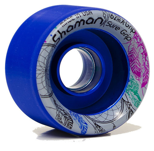 Blue Sure-Grip SHAMAN Hybrid Roller Skate Wheels 84A - 62mm X 42mm