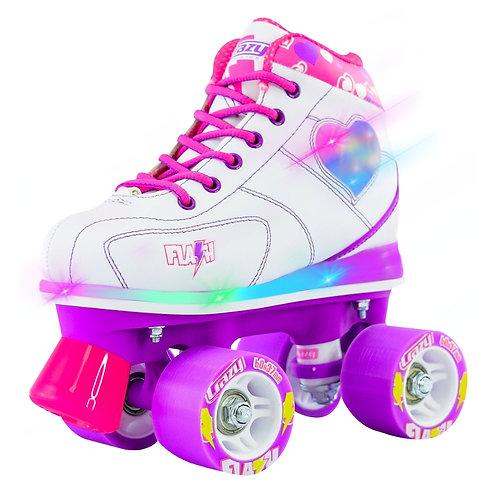 """CRAZY SKATES """"FLASH WHITE"""" Kids Roller Skate with LED Light Up"""
