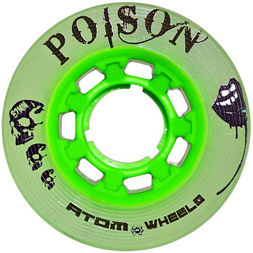 ATOM 'POISON' - OUTDOOR/ HYBRID WHEELS - 4 PACK/ GREEN