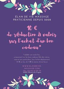 Profitez d'une réduction de 10 euros pour l'achat d'une carte cadeau, à offrir pour la fête des mères. Une séance de massage, durée 1h, sur Villeneuve lez Avignon et les alentours