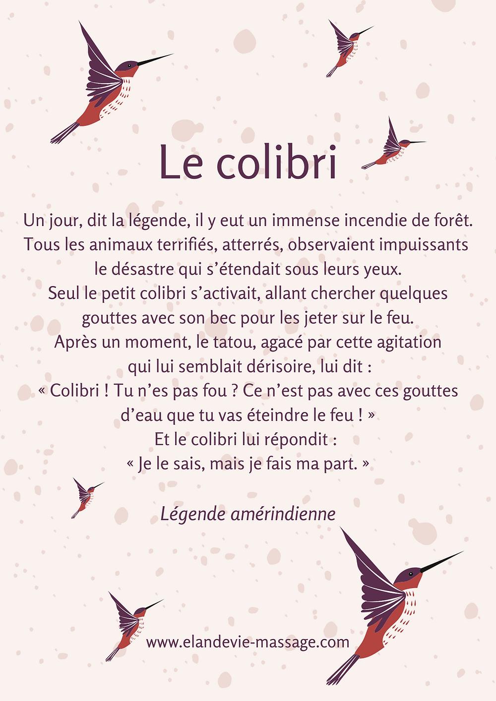 la légende du colibri racontée, affiche avec des dessins de colibris et un texte, couleurs marrons