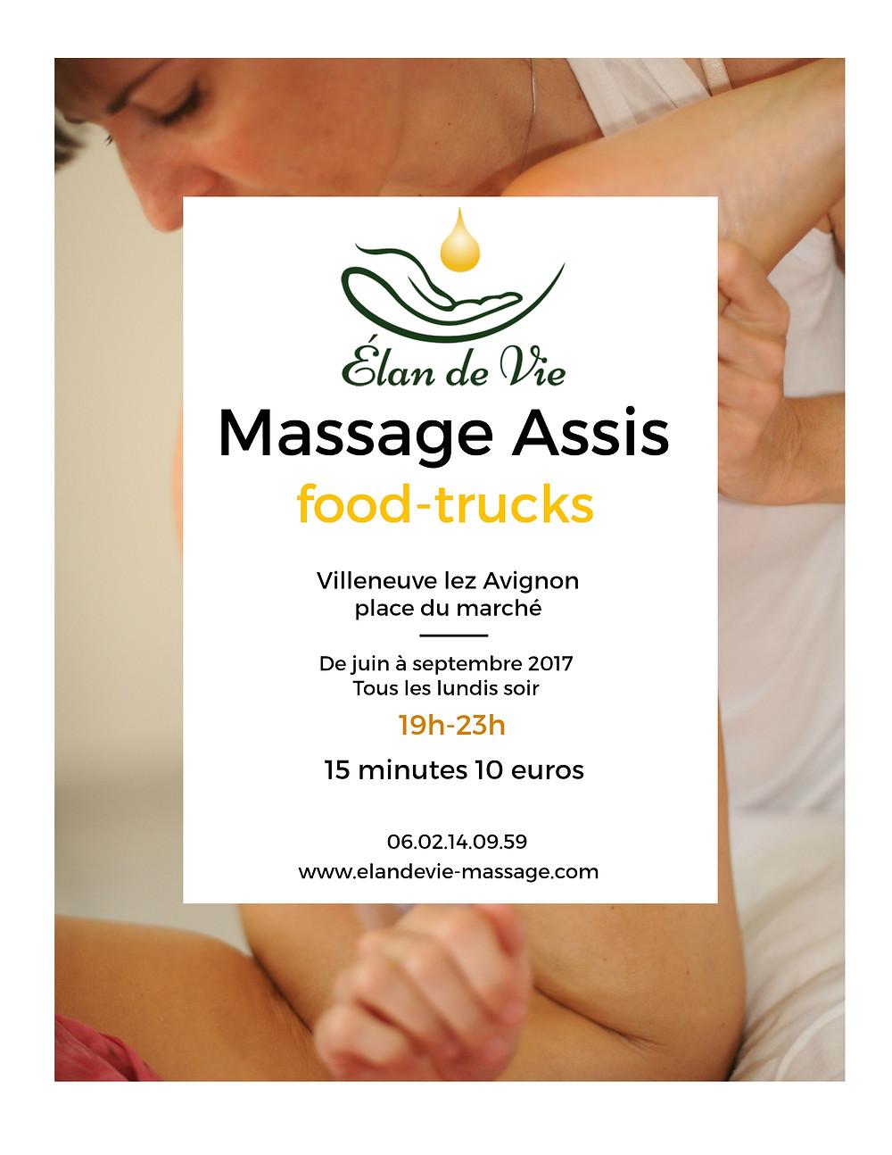 Massage assis à Villeneuve lez Avignon, à 10 mn du centre ville d'Avignon. Offre spéciale 5 euros les 10 minutes de massage assis. Tous les lundis soir, jusqu'à fin septembre