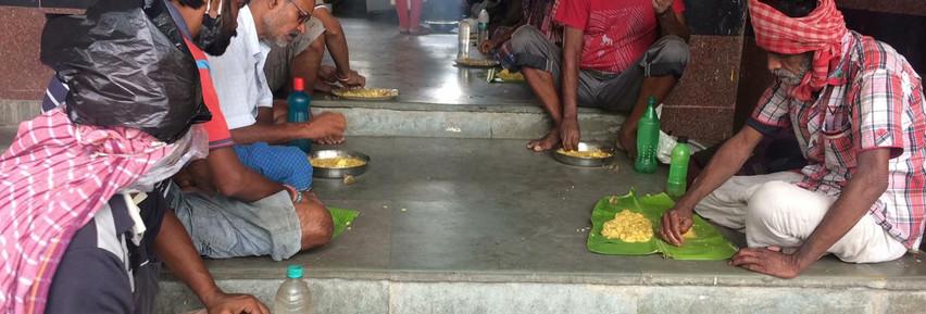People affected by lockdown getting food