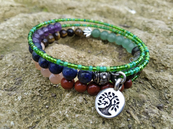 Bracelet trois tours chakras