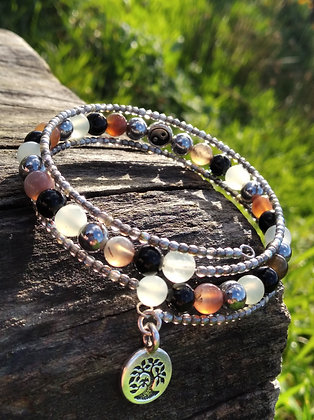 Bracelet trois tours yin-yang