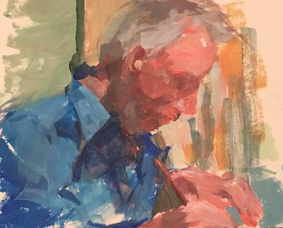 Portrait of Dad Painting a Watercolor