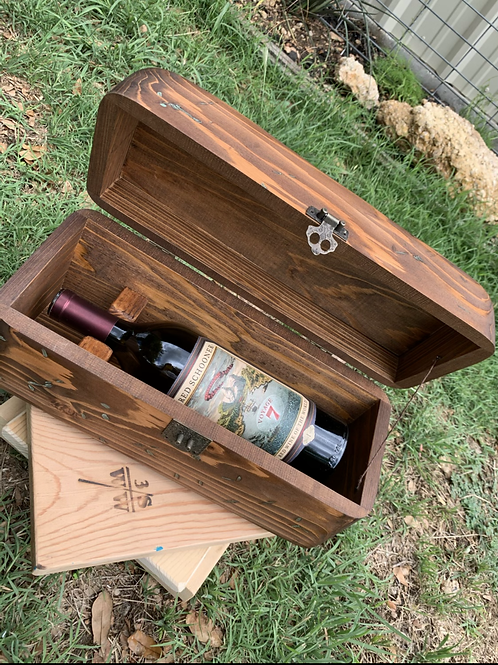 Wine Box Single Bottle with Turquoise Accent