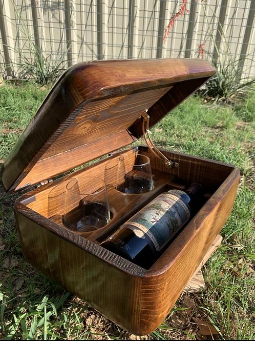 Wine Box holds Single Bottle w/2Stemless Glasses