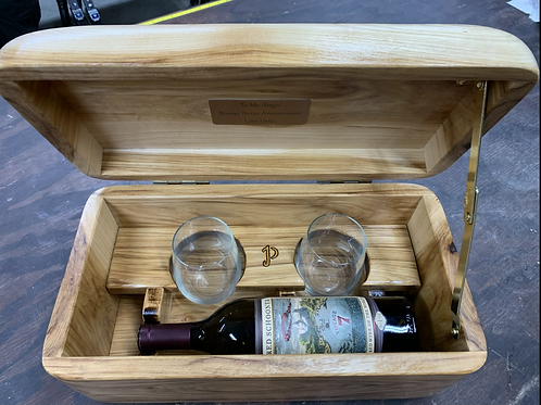 Hickory Wine Box (holds 1 wine bottle / 2 stemless glasses)