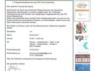 Einladung zum 3. Integrationsturnier Fußball  in Apolda
