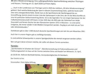 Vortrag: Deutsch - Deutsche Sportkontakte über die Grenze hinweg..