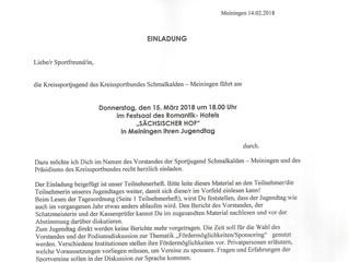 """Kreisjugendtag am 15.03.2018 um 18 Uhr in Meiningen im """"Sächsischen Hof"""""""