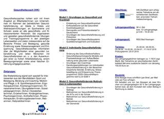 """Angebote Ausbildung zum """"Gesundheitscoach"""" (IHK)"""