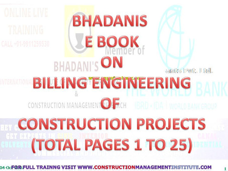 BHADANIS E BOOK ON BILLING ENGINEERING CONCEPTS FOR CIVIL ENGINEERS AND CONSTRUCTION PROFESSIONALS