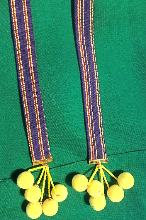 Caly Paris - Cordons pour sweatshirt tissu rayé mauve et jaune