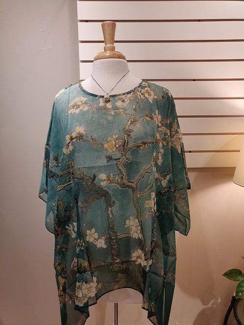 100%silk poncho, Free size