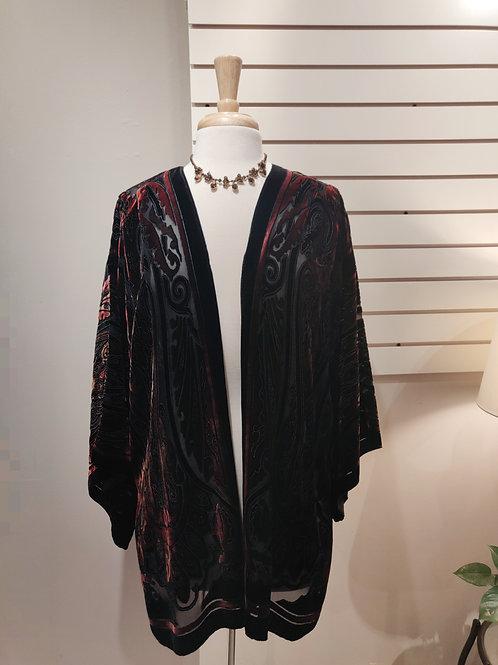 Silk velvet kimono burgundy, Free size