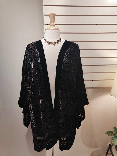 Silk velvet kimono grey , Free size