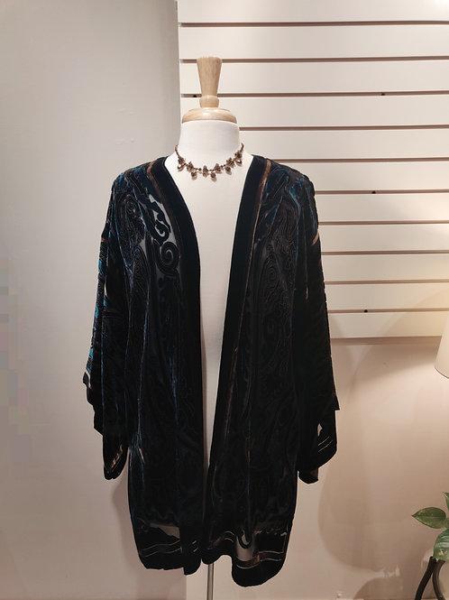 Silk velvet kimono turquoise, Free size