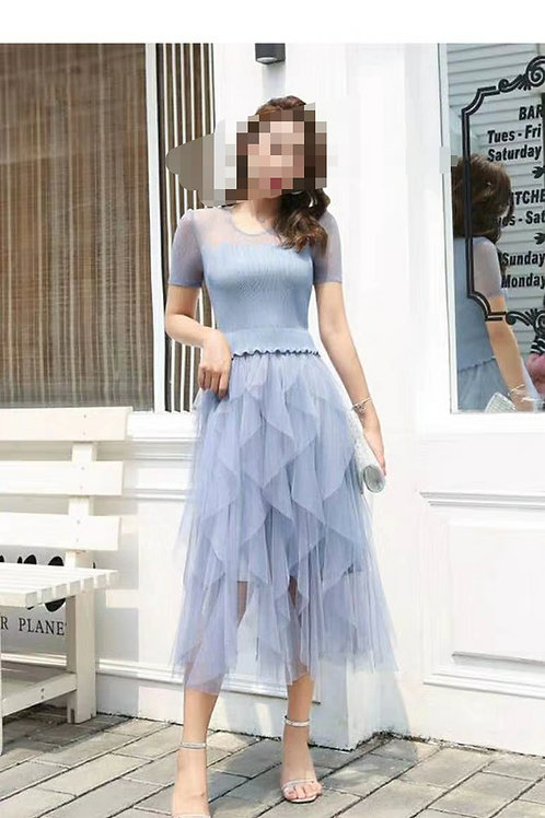 Stretchable layers dress baby blue