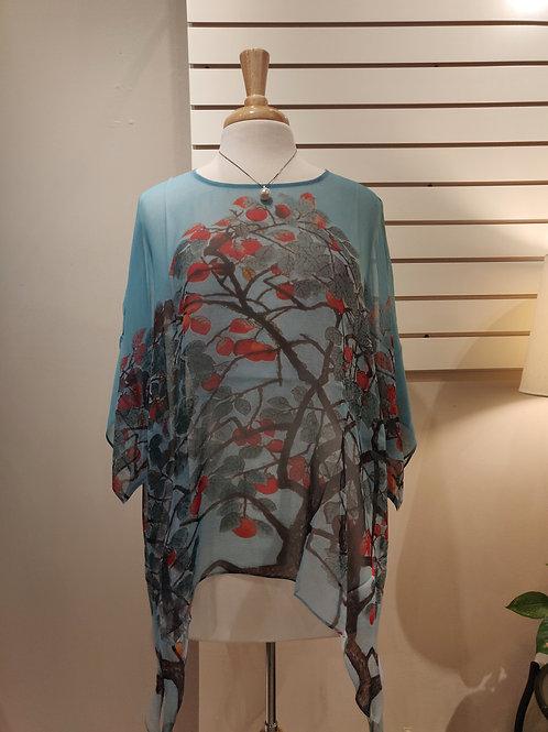 100% silk poncho , free size