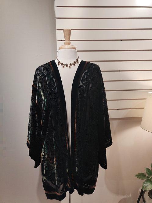 Silk velvet kimono green, Free size