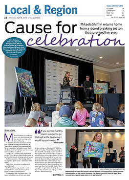 Vail Daily article with Mikaela Shiffrin and my artwork