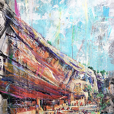 Journey Through the Dwellings . 48x28 . acrylic