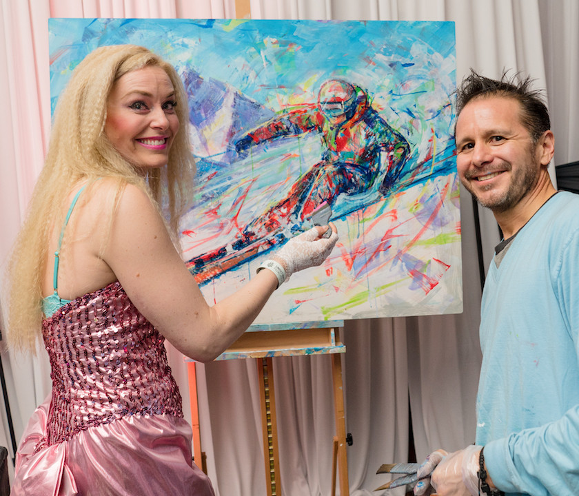 Lindsey Vonn collaborating with me on a painting