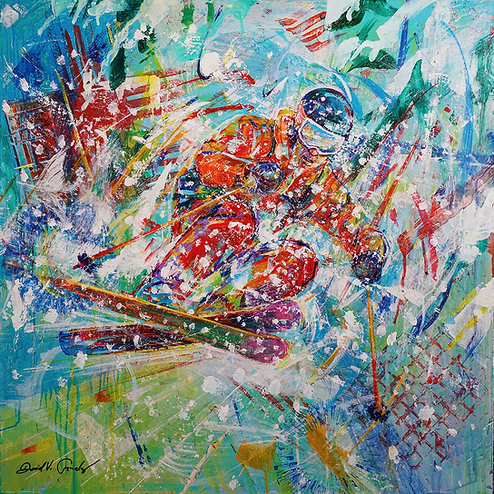 Powder Flight . 24x24 . acrylic
