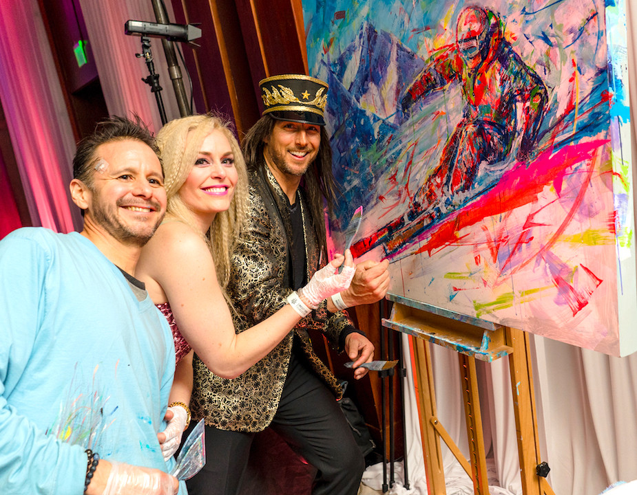 With Lindsey Vonn and Jonny Moseley collaborating on a painting at the custom gala and auction for Lindsey Vonn's Foundation