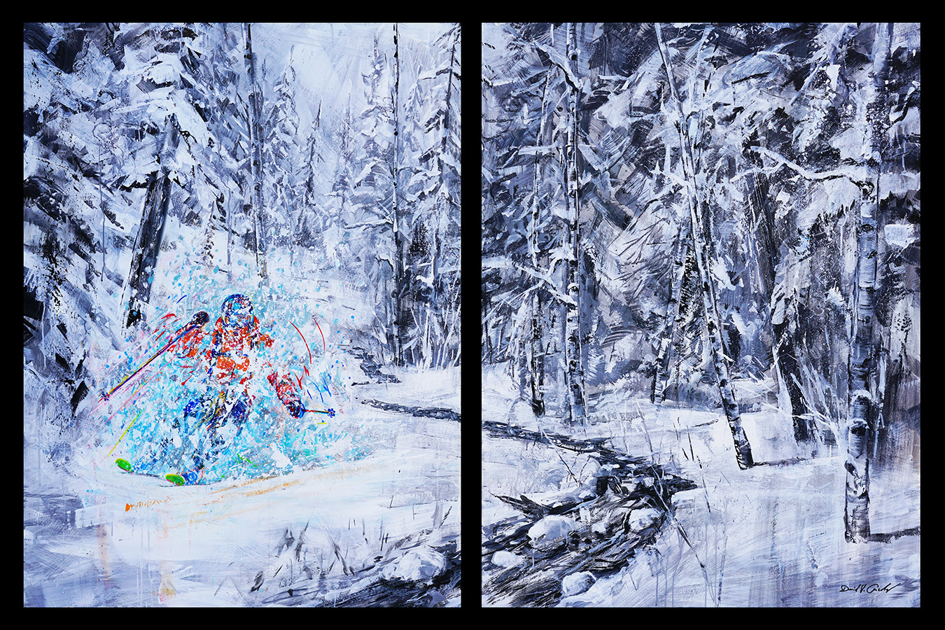 Backcountry Pow . 48 x 72 diptych . acrylic