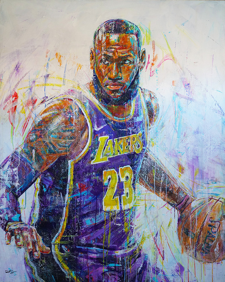 Greatness . 60 x 48 . acrylic . Portrait of LeBron James