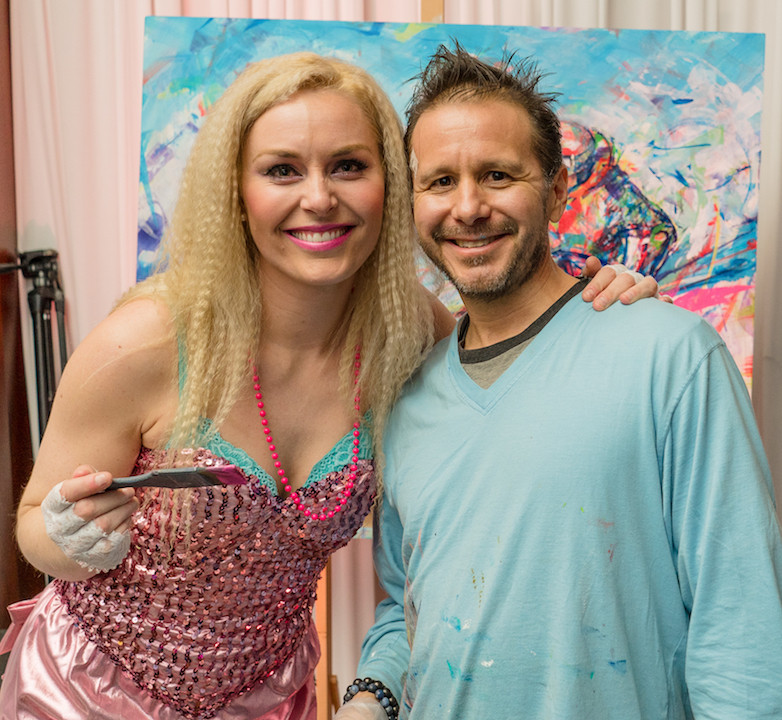 Lindsey Vonn and I at her custom party fundraising event in Vail, CO