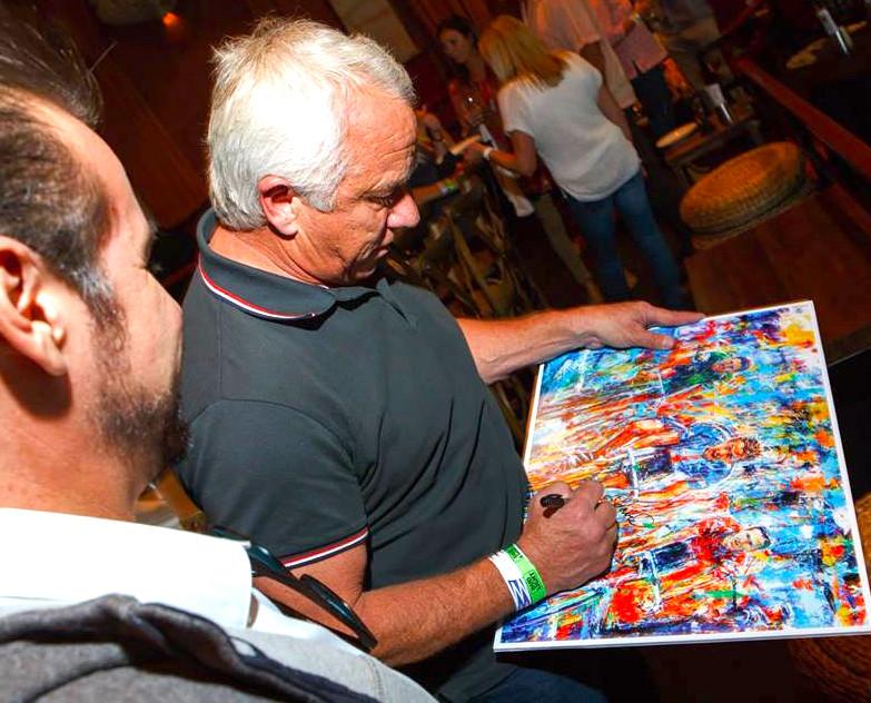 Tour de France Legend, Greg LeMond signing my artwork