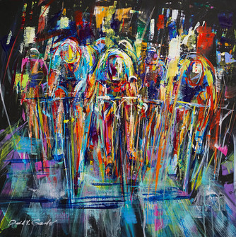 Thrash to the Finish . 24 x 24 . acrylic