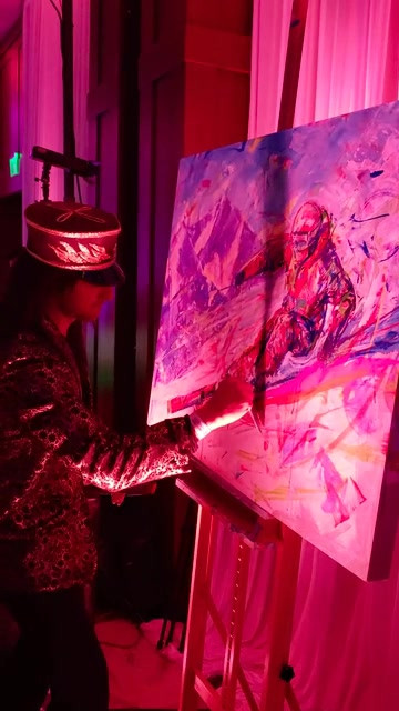 Lindsey Vonn and Jonny Moseley paint with David